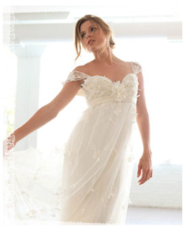 beautiful woman in custom wedding gown