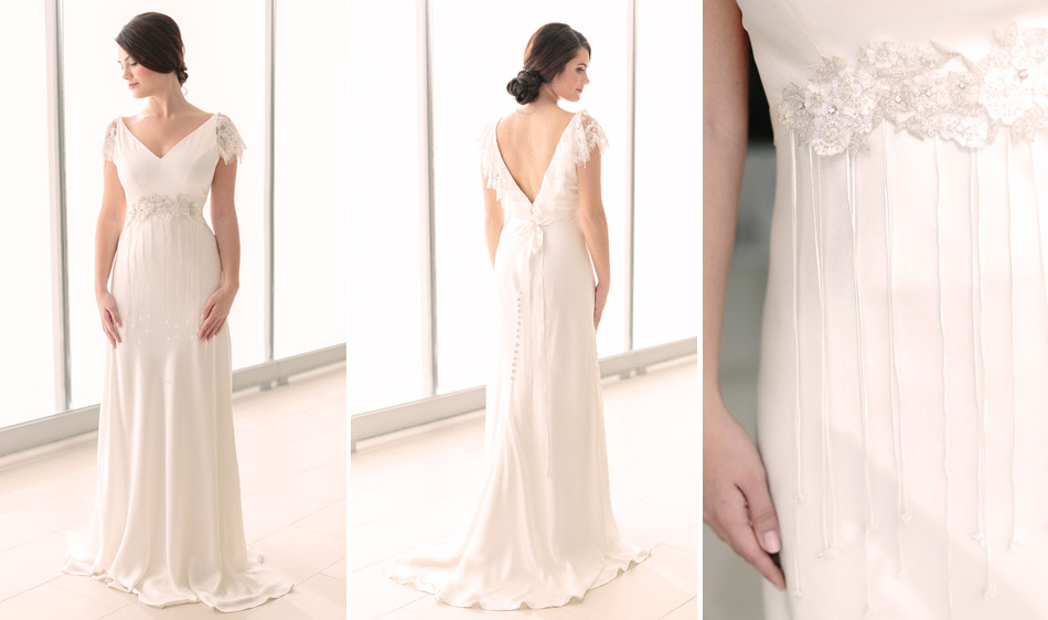 Handmade Wedding Dresses Chicago : Italian silk charmeuse a line gown v neck with chantilly lace ruffled